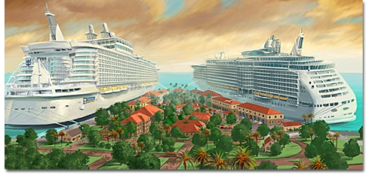 As Royal Caribbean's enthusiastic fans continue to speculate about the line's new Project Sunshine ship, images such as this one from Falmouth, Jamaica, continues to make the rounds. The vessel on the right is said to be the ship in question, but Royal Caribbean has released nothing to confirm it.